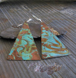 Copper Verdigris Long Triangle Dangle Earrings