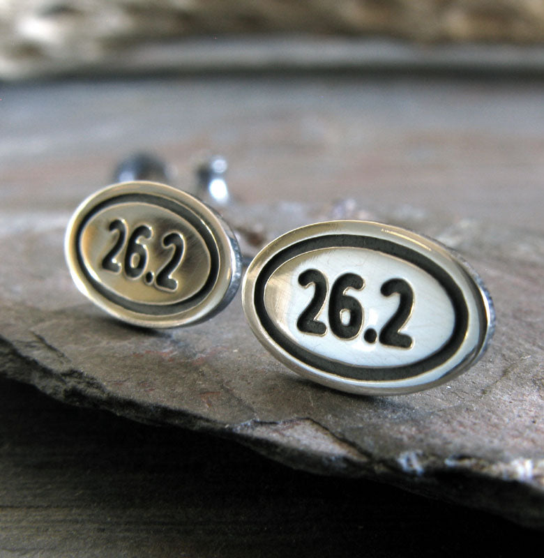 Marathon 26.2 sterling silver stud earrings handmade in the USA