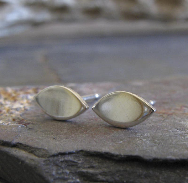 Marquise Shape Oval Stud Earrings in Sterling Silver or 14k Gold