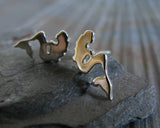 Mermaid Sterling Silver Stud Earrings
