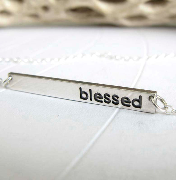 Minimalist Blessed bar necklace handcrafted in sterling silver