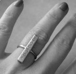 Modern rustic sterling silver bar ring