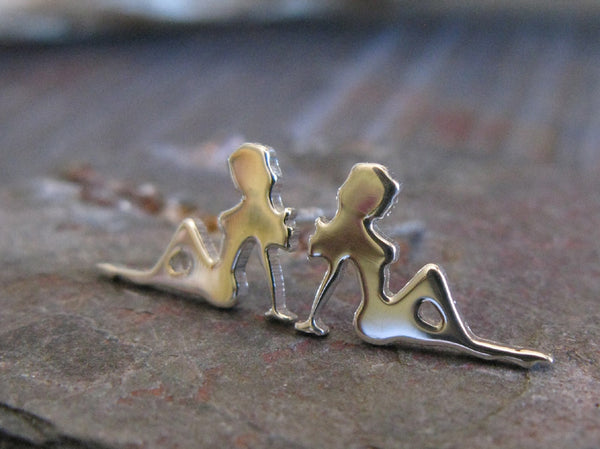 Mud Flap Girl Trucker Sterling Silver Stud Earrings