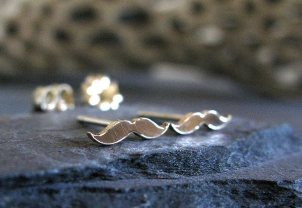 Mustache Steam Punk Tiny Stud Earrings