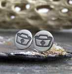 Nurse hat stud earrings.  Handmade sterling silver medical jewelry