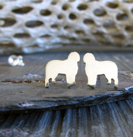 Old English Sheepdog stud earrings. Handmade in sterling silver or 14k gold