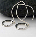 Lightweight hammered ring dangle earrings