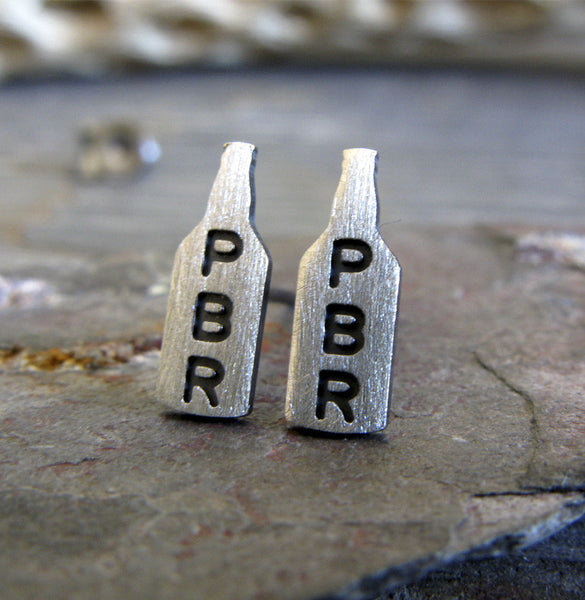 Pabst Blue Ribbon PBR sterling silver beer bottle stud earrings