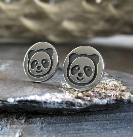 Panda Bear sterling silver stud earrings.  Handmade in the USA.