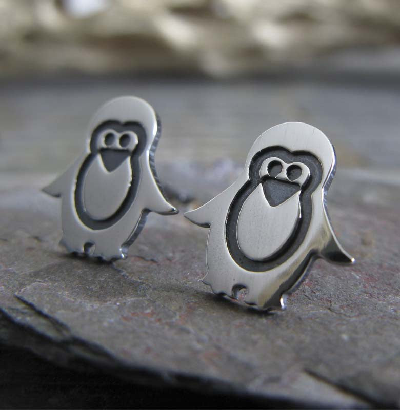 Sterling Penguin stud earrings.  Handcrafted in sterling silver or 14k gold