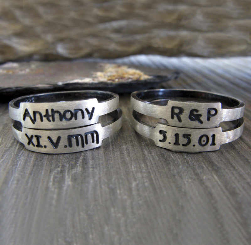 Personalized Posie Ring set in sterling silver