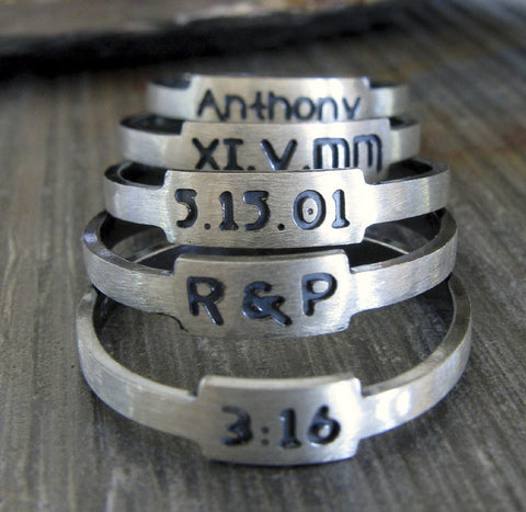 Set of Custom Engraved Posie Rings