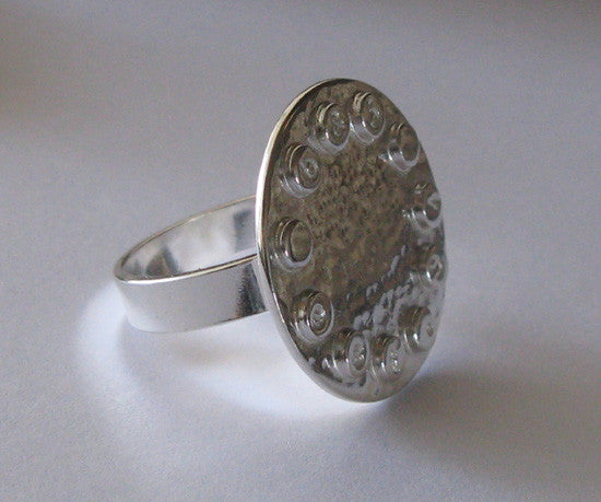Personalized Polished Sterling Silver Ring . Revolver