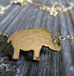 Petite elephant pendant necklace handmade in sterling silver or 14k gold