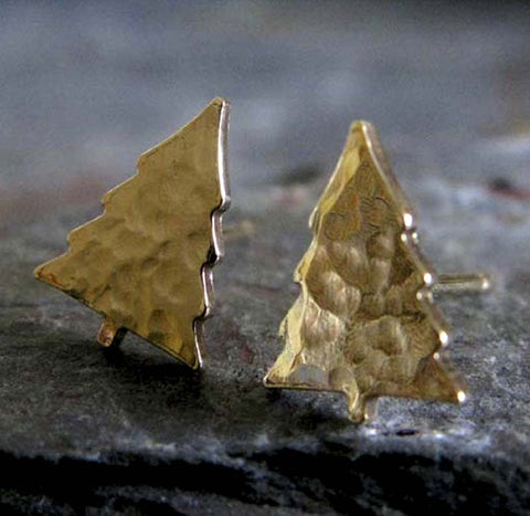 Pine Tree Gold Christmas Stud Earrings