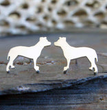 Pitbull tiny dog jewelry. Stud earrings handmade from sterling silver or 14k gold.