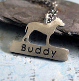 Pitbull necklace dog personalized pendant handmade in sterling silver