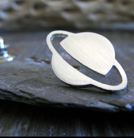 Planet Saturn sterling silver tie tack