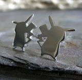 Pokemon Go Pikachu Stud Earrings Handmade from Sterling Silver or 14k Gold