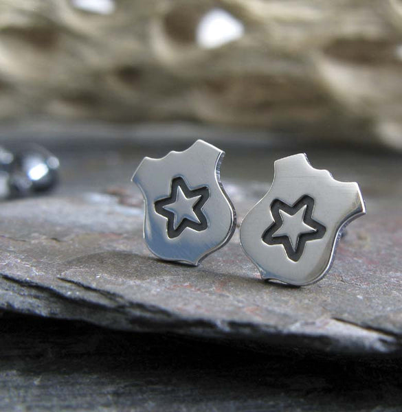 Police Badge stud earrings. Handmade in sterling silver in the USA.