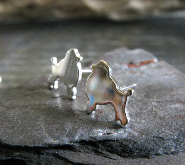 Poodle Dog Silhouette Sterling Silver Stud Earrings