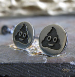 Poop emoji sterling silver handmade stud earrings