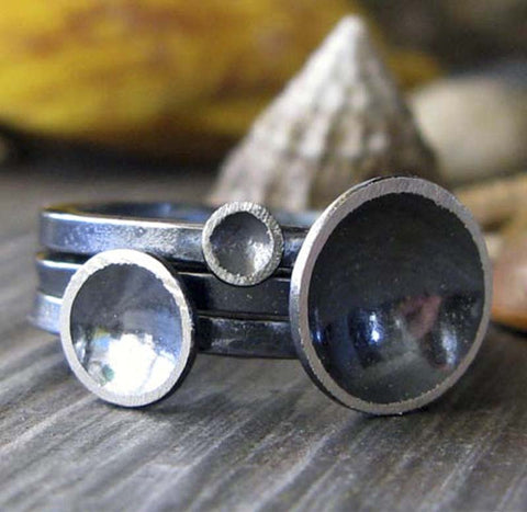 Prenumbra Sterling Silver oxidized Stacking Rings