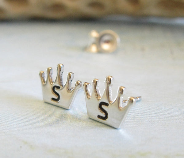 Princess Crown Earrings with Personalized Initial