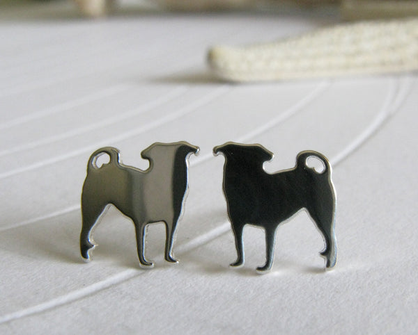 Pug Dog Silhouette Sterling Silver Stud Earrings