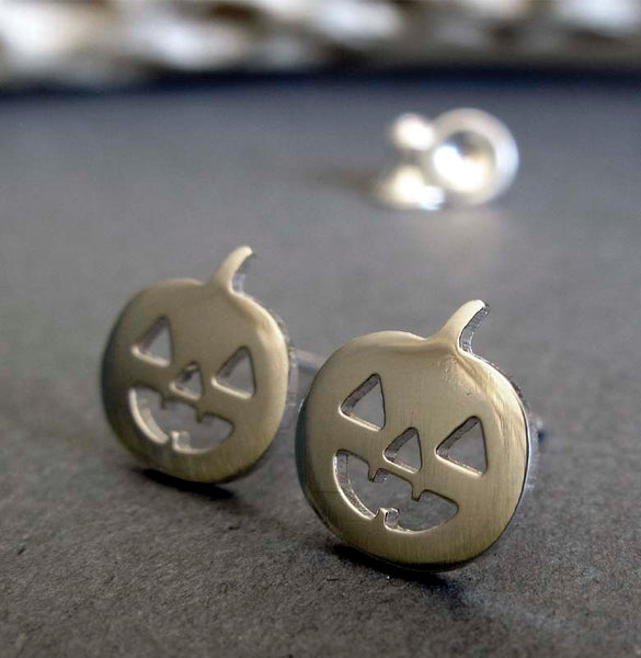 Halloween Jack O' Lantern Pumpkin Stud Earrings handmade in Sterling silver