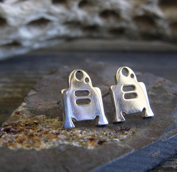 R2-D2 Star Wars Droid Stud Earrings in Sterling Silver or 14k Gold