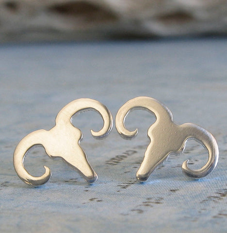 Ram Skull Stud Earrings