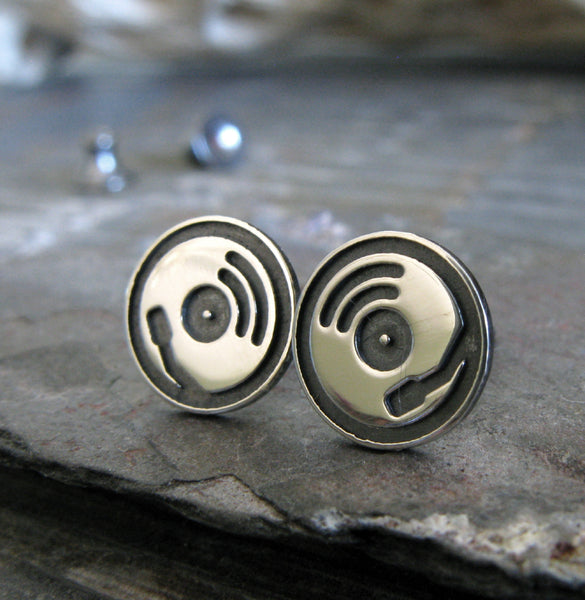 Record player stud earrings handmade in sterling silver