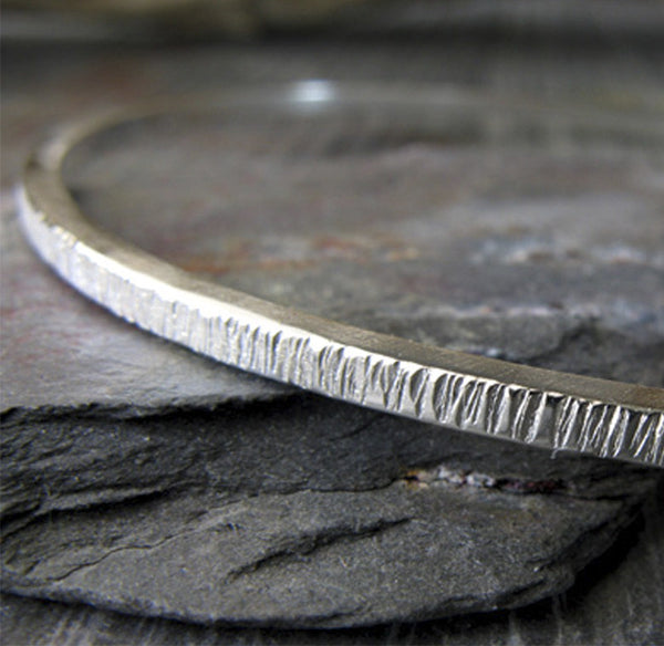 Rustic Bangle Bracelet. Sterling Silver Artisan Handmade Jewelry
