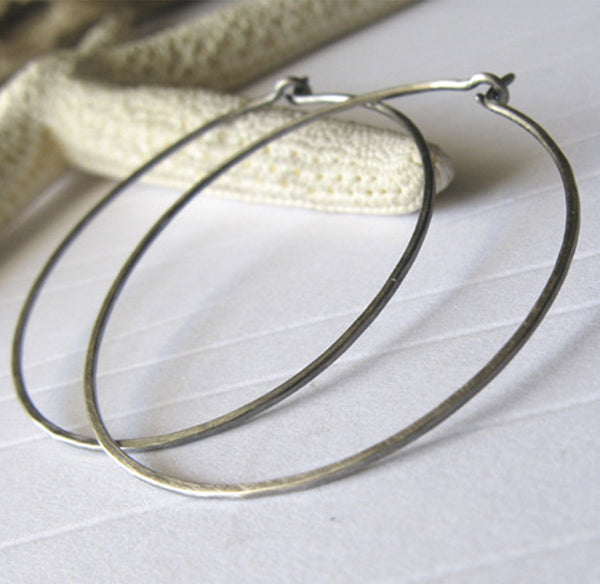 Thin delicate Medium Handmade Sterling Silver Hoop Earrings