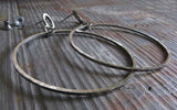 Rustic Large Dangle Hoop Sterling Silver Earrings