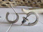 Small Sterling Silver Rustic Hoop Stud Earrings Oxidized