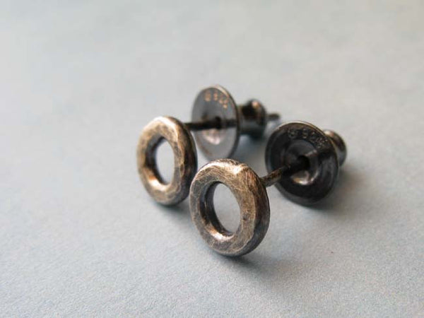 Sterling Silver organic donut earrings