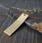 Dainty rectangle bar pendant necklace handmade in sterling silver or 14k gold