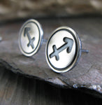 Sagittarius zodiac stud earrings handmade in sterling silver