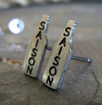 Saison craft beer bottle tiny sterling silver post earrings