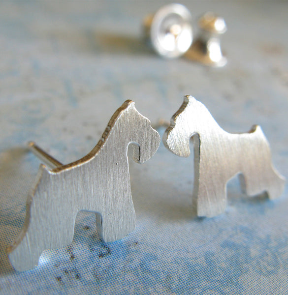 Schnauzer Dog Stud Earrings