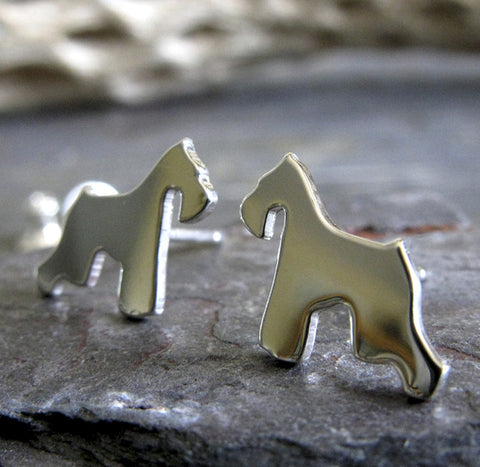 Schnauzer Dog Silhouette Sterling Silver Stud Earrings