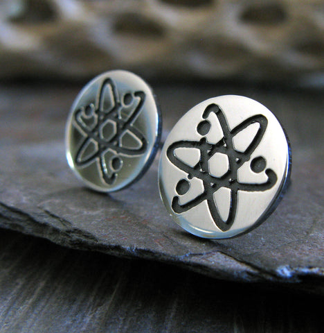 Science atom stud earrings handmade in sterling silver