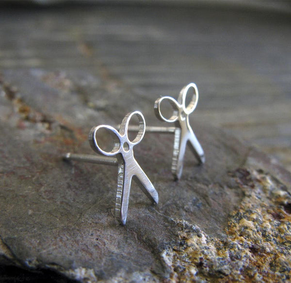 Scissor stud earrings in sterling silver or 14k gold