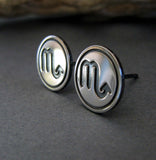 Scorpio scorpion zodiac sign sterling silver stud earrings