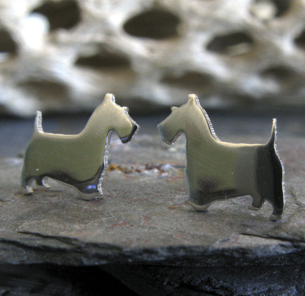 Scottie Dog Earrings. Sterling Silver or 14k Gold Silhouette jewelry