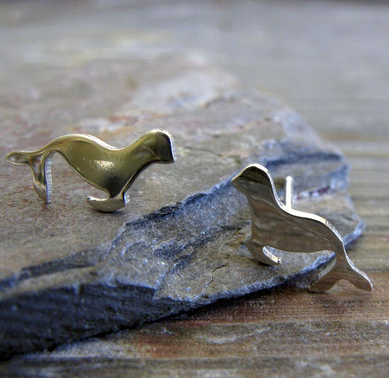 Sea Lion Stud Earrings in Sterling Silver or 14k Gold