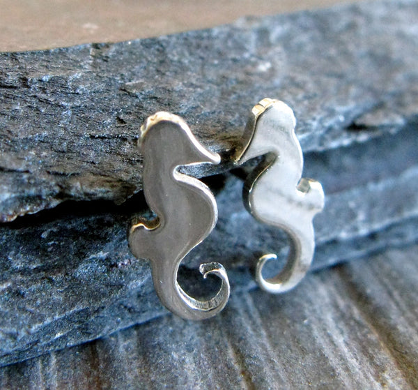 Seahorse Ocean Sterling Silver Stud Earrings