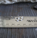 serotonin molecule tie tack on a silver ruler and gray stone